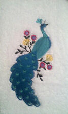 PEACOCK BEauty EMBROIDERED SET 2 BATHROOM HAND TOWELS By Laura