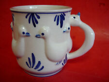 Vintage Delft Blue Holland Ducks Coffee Mug Cup 1964