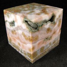 VERY COOL Ocean Jasper Cube w/ GREEN DRUZE    EOJ373