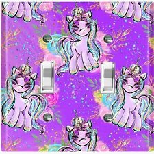 Metal Light Switch Cover Wall Plate Unicorn Party Cartoon Fairy Purple UNI001