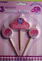 3 x Pink Ladybug 1st Birthday Party Candles