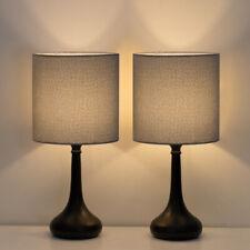 Modern Set of 2 Bedside Lamp Gray Linen Table Lamp Pair for Bedroom,Living Room