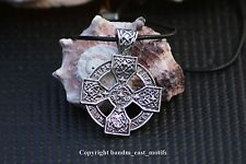 Viking Celtic Cross Necklace Pendant Rune Knot Irish Solar Braided Leather