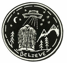Believe Bigfoot UFO Embroidered Patch Hook & Loop Applique XFile Cryptid Mystery