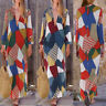 ZANZEA Women Floral Long Sleeve Beach Tunic Shirt Dress Kaftan Plus Size Dresses
