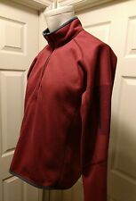 ARCTERYX MEN'S FLEECE 1/2 ZIP RED PULLOVER SWEATER JACKET WITH ARM POCKET MEDIUM