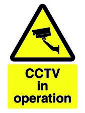 Cctv In Operation Sign *Warning New Laminated Sign*