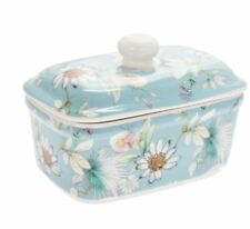 VINTAGE STYLE FINE CHINA DAISY MEADOW DESIGN BUTTER DISH WITH LID NEW & BOXED