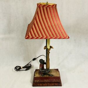Vintage Monkey in Dress on Animal Kingdom Book Table Lamp with Shade Made in USA