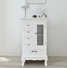 Shabby Chic White Cabinet French Wooden Sideboard Glass Shelves & 5 Drawers