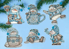 Cross Stitch Kit ~ Design Works 6  Cocoa Snowman Christmas Ornaments PC #DW1689