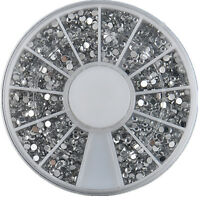 2400PC Nail Art 1.5mm Rhinestones Glitter Diamond Gems 3D Tips Decoration Wheel