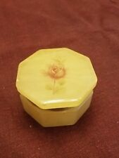 Small Alabaster Hand Made Trinket Box Hinged Lid Italy