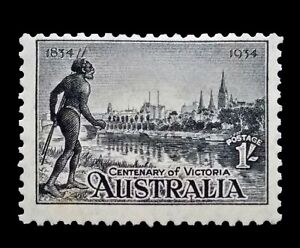 SG149 - 1934 Australia Black 1/- Shilling Mint Unhinged Stamp - CV $110 - 45a