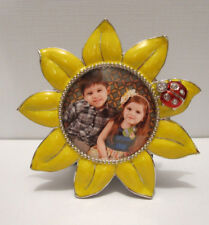 """Sunflower Frame, 2"""" x 2"""" Round Picture Frame With Jeweled Ladybug"""