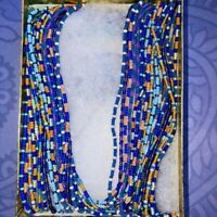 """Multi Strand Seed Beaded Necklace 36"""" Long 11 Strand Blue Silk Wrapped Artisan"""