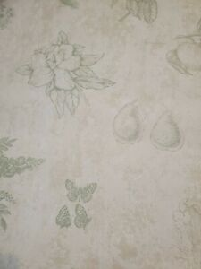 VTG DOUBLE ROLL-WALLPAPER CAREY LIND LIGHT BROWN, OFF-WHITE & GREEN WITH FRUIT,