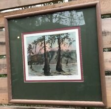 "Framed #ed 142/150 Waven Boone Signed Watercolor ""Autumn Cypress"" Nautical Art"