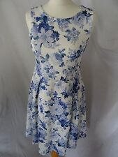 Dorothy Perkins Womens White/Blue/Floral/Sleeveless/Summer Dress Size UK8/EUR 36