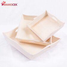 TRIS VASSOIO QUADRATO onde cm.20-25-30 legno decoupage vaschetta cucina serie x3