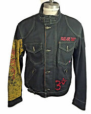 Belstaff einzigartige handgemachte Free Tibet schwarz Denim Jacke Made in Italy EU Größe L