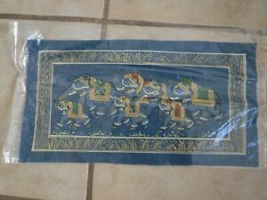Royal Asian Elephants, Painting on Silk Fabric, Blue & Gold, 8 in x 15 in NWOT