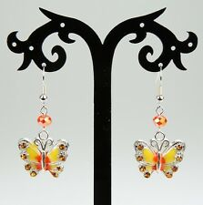 Yellow & orange butterfly earrings, rhinestones, crystals, silver-plated hooks
