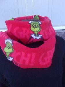 GRINCH RED CHRISTMAS SUPER SOFT INFINITY COWL FLEECE SCARF HANDMADE
