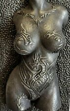 Girl Dragon Tattoo Iron Nude Erotic Female Torso Sculpture Wall Hanging Front