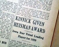 NILE KINNICK Iowa Hawkeyes College Football WINS HEISMAN TROPHY 1939 Newspaper