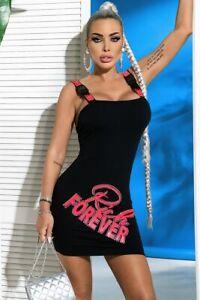By Alina Mexton Damen Kleid Minikleid Spaghettiträger Trägerkleid Pink XS-M