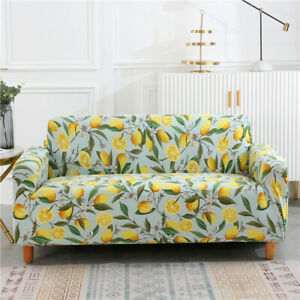 Luxury Lemon Tree Flower Elastic Couch Sofa Covers Spandex Slipcover Protector