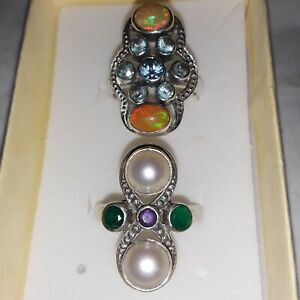 Nicky Butler Rings;size 8. Ethiopian Sterling Silver and pearl ring; 2 rings