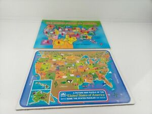 Golden United States of America Picture Map Puzzle + Extra US Wood Puzzle Vntg