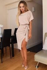 WRAP BATWING BELTED MIDI DRESS