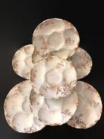 """Set 8 Antique Haviland Limoges 7 3/4"""" Oyster Plates - Floral & Gold Decoration"""