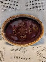 Vintage McCoy Pottery Brown Drip 7062 Embossed Serving Platter 13""
