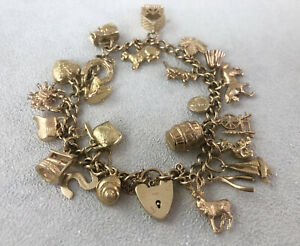 Vintage 9ct Yellow Gold Charm Bracelet With 24 Charms ~ Item: B0648
