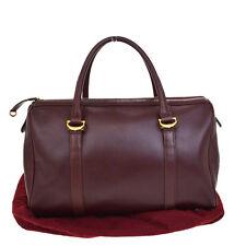 Authentic Must De Cartier 2C Logos Travel Hand Bag Leather Bordeaux Spain 60Q727