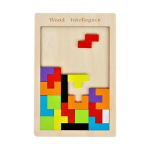 Colorful 3D Puzzle Wooden Tangram Math Toys Tetris Play Children Kids Education