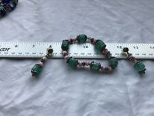 Vintage Stretch Bracelet Green / Pink Glass beads and matching Pierced Earrings