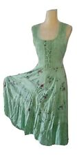 Vintage Sage Embroidered Boho Hippie Gypsy Festival Maxi Dress Lace Bust S/M