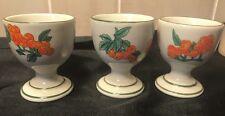 Eggs Cups Porcelain /Ceramic Hand Painted Oranges Korea 3 Holders