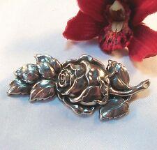 Hübsche alte Rosen Brosche Silber Rosenbrosche Rose / bh 504