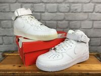 NIKE MENS AIR FORCE 1 MID 07 WHITE LEATHER HI BASKETBALL TRAINERS MANY SIZES T