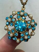"Vintage Estate Blue Rhinestone Pearl pendant necklace with chain 16"" Long"