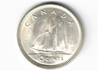 CANADA 1937 TEN CENTS DIME KING GEORGE VI .800 SILVER COIN CANADIAN