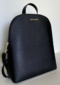 New Michael Kors Cindy Large backpack Saffiano Leather Black with Gold