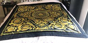 "Versace Classic 59"" (150cm) square Luxury Throw Gold & Black Design 100% Authent"