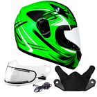 Adult Snowmobile Helmet Green Full Face Double Pane Shield or Heated DOT